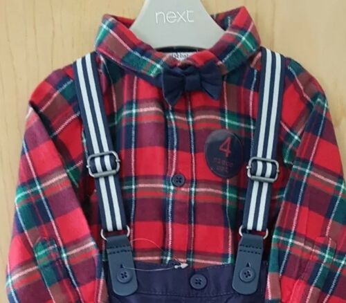 ♡ Next ♡ Baby Boy ☆ Checked Bow Tie Outfit Braces Party Xmas 12-18 Months 1 year