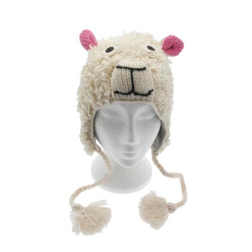 Fun Sheep Handmade Woollen Animal Hat Fleece Lining One Size UNISEX