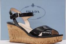 PRADA VERNICE WEDGE BLACK PATENT SANDALS SHOES 40/10 $590