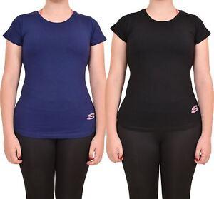 Camiseta-Para-Mujer-Elastico-Damas-Deportes-Skechers-Top-Secado-Rapido-Baile-Fitness-Gym