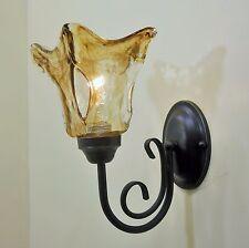 Old World Finish Swirl Art Glass Wall Sconce Vintage Edison Bulb Type Fixture