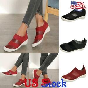 US-Women-Wedges-Heels-Sneakers-Trainers-Ladies-Slip-on-Casual-Sports-Shoes-Pumps