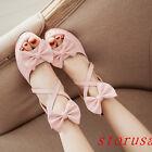 Sweet Women High Block Heel Bowknot Sandals Strappy Summer Boots Platform Shoes