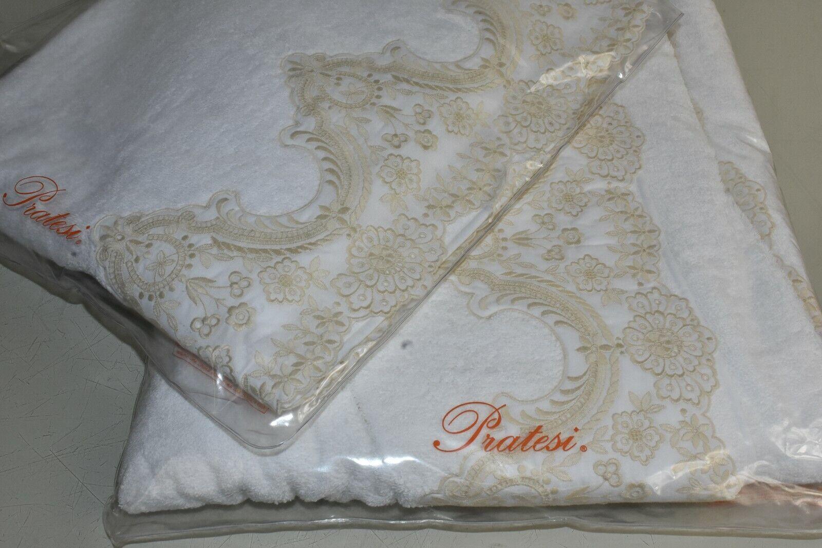 NEW Pratesi 2 PC SET Louvre Lace Embroidered Bath Towel Sheet White Beige