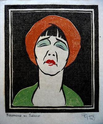 FRANZ GERITZ Original 1922 Woodblock NAZIMOVA AS SALOME Signed California Artist