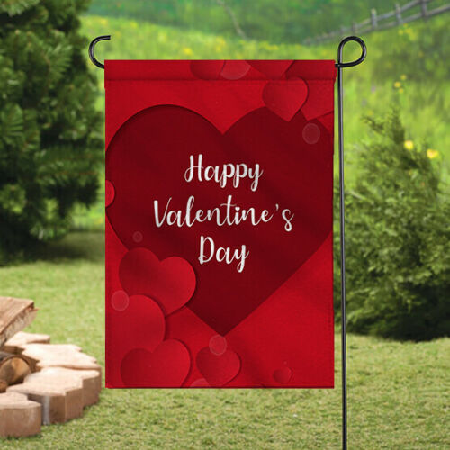 Valentine/'s Day Signs Banner//Flag Courtyard Double Sided Outdoor Garden Flags
