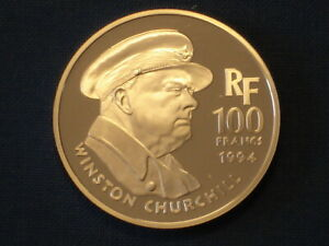 France-100-francs-Silver-Proof-1994-World-War-II-Liberation-Churchill-amp-Lion