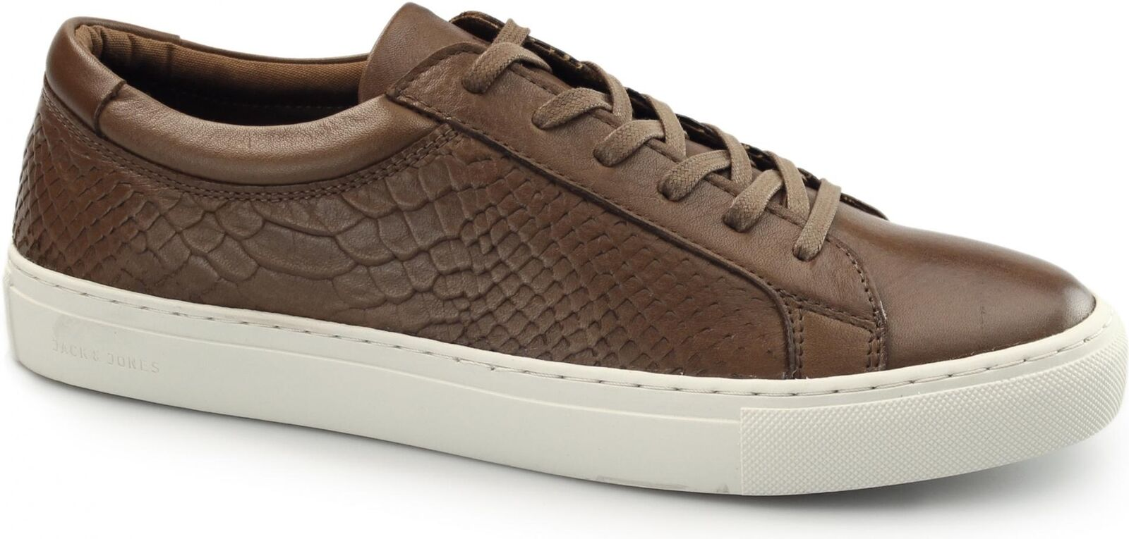 Jack & Jones GALAXY Mens Leather Reptile Texturot Casual Lace Up Trainers Cognac