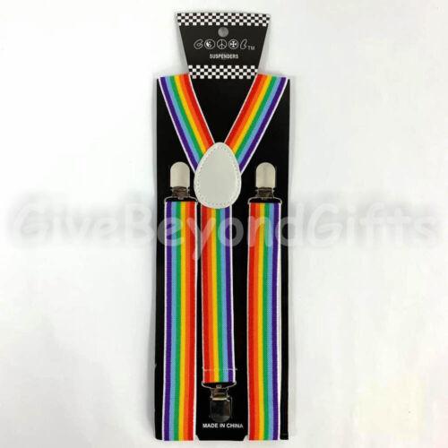 Suspender and Bow Tie Adults Men Rainbow Swirls Wedding Formal Wear Accessories
