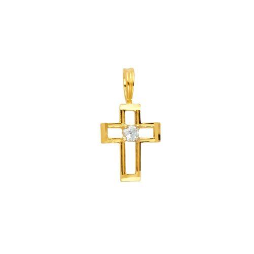 14K Or Jaune Zircone Cubique Pendentif Croix Charm Collier
