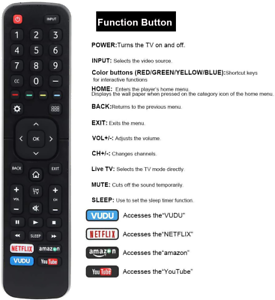 Replace Remote Control for Hisense 50-Inch 4K Class ULED Android TV H6570G