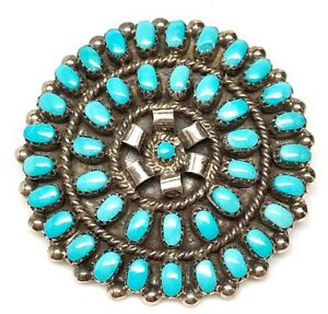 Zuni-Handmade-Sterling-Silver-Turquoise-Cluster-Pin