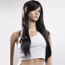 "New 29"" Long Straight Synthetic Hair Full Wig for Cosplay Party Black"