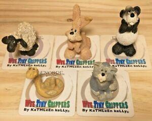 Lot of 5 Wee Tiny Critters Kathleen Kelly Encore Panda Sheep Cat Snake Rabbit