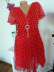 Vivance Kleid Sommerkleid Damen rot Punkte Chiffonkleid Gr ...
