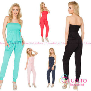 e39952854eaf Image is loading Womens-Jumpsuit-With-Pockets -Bandeau-Party-Playsuit-Catsuit-