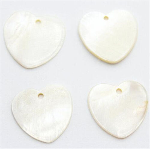 50Pcs Mother of Pearl White Sea Shell Heart SeaShell Charms Beads 10mm//20mm