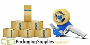 """Clear Shipping Packing Tape 3""""x110 6 Rolls 2.3 Mil w/Dispenser Heavy Duty NEW"""
