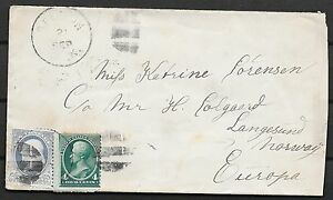 United States covers 1885 cover to Langesund/Norway