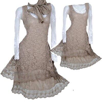 2tlg Damen Sommer Twinset Spitze Tunika Kleid Lagenlook 36 38 40 42 S M L Schal Um Sowohl Die QualitäT Der ZäHigkeit Als Auch Der HäRte Zu Haben