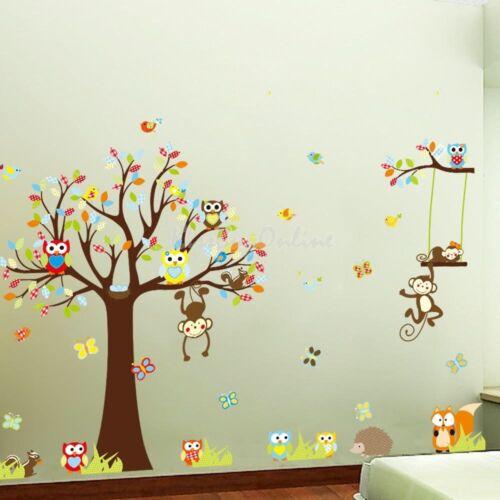 Cute Animals Monkey Owl Tree Removable Kids Wall Sticker Decal Nursery Decor