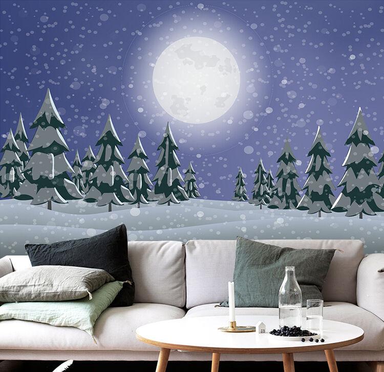 3D Weihnachten Mond, Wald 34 Fototapeten Wandbild BildTapete Familie DE