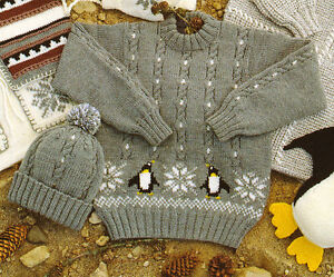 Penguin-Baby-Childrens-Sweater-amp-Hat-20-034-30-034-1-11-yrs-DK-Knitting-Pattern