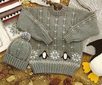 "Penguin Sweater & Hat -20"" ~ 30"" Chest -1/2 yrs ~ 10/11 yrs DK Knitting Pattern"