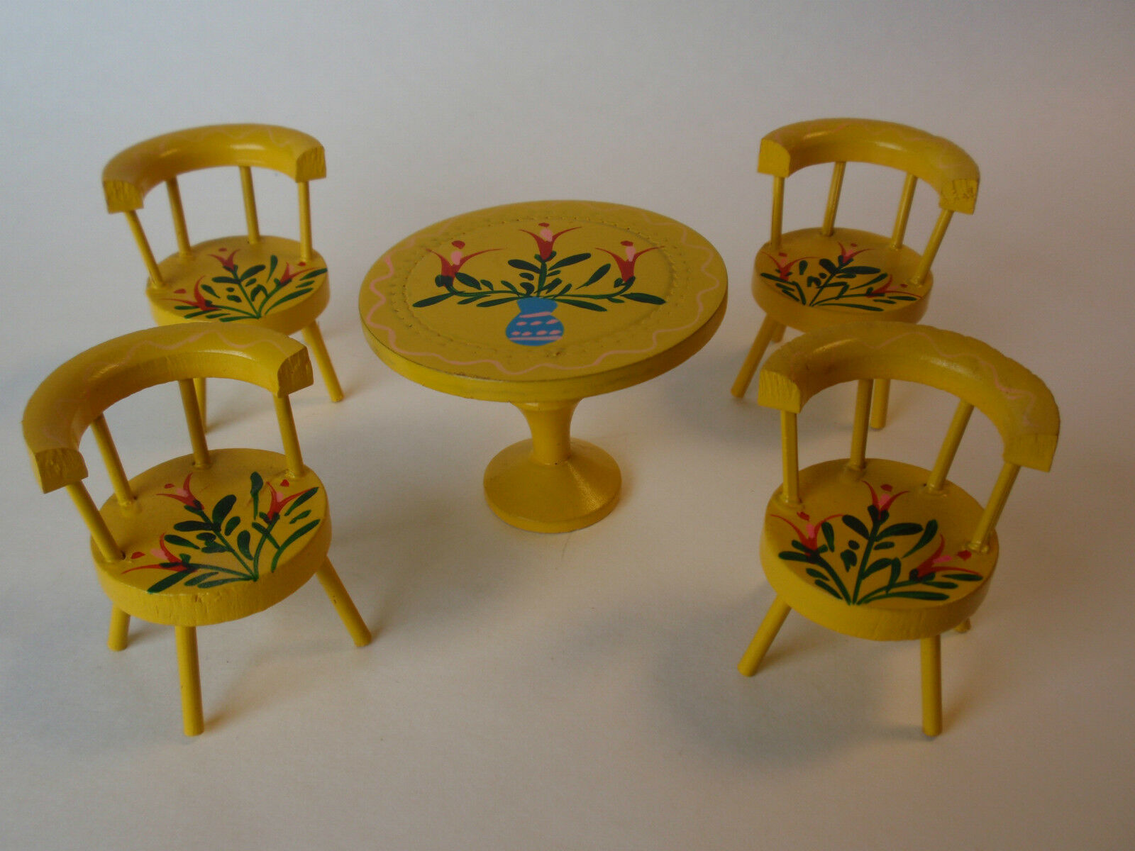 Vintage He Painted Japan fatto gituttio Floral bambola House Table Chairs Set IOB