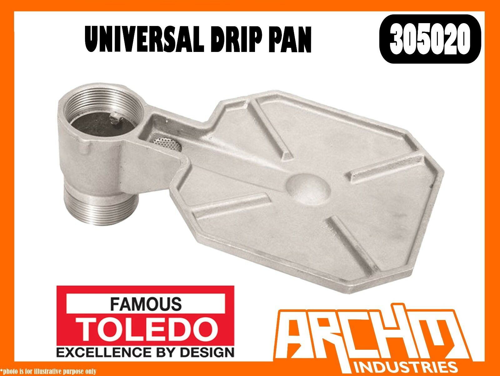 TOLEDO 305020 - UNIVERSAL DRIP PAN - ALUMINIUM MEDIA 2  BUNG ADAPTOR DRUM PUMP