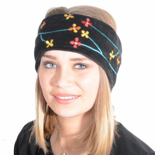 Femmes Flower Velours Bandeau Coton Différentes Couleurs Hippie Boho Art et Magie