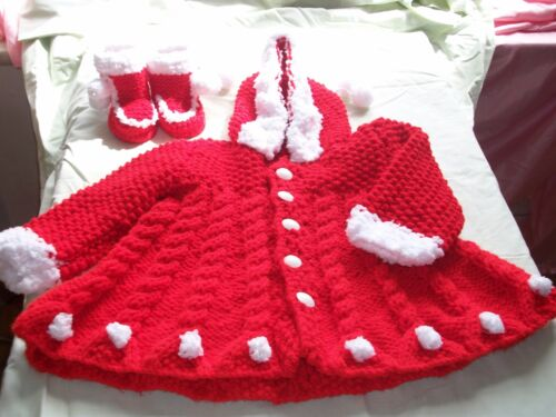 girl booties in 6 sizes with hood Baby coat knitting pattern in chunky yarn