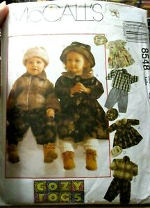 McCALL-039-S-SEWING-PATTERN-NO-8548-BABIES-OUTFITS-SIZE-1-2-3-COZY-TOGS