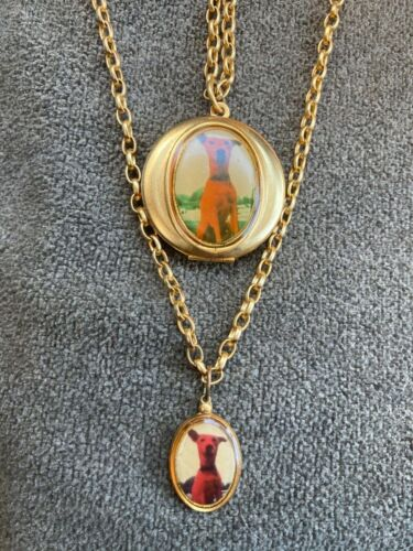 Vintage Necklace Red Dog Pair