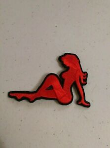 """Biker LEFT or RIGHT 3935//38 L//EE WHITE MUDFLAP GIRL 4/"""" x 2/"""" iron on patch"""