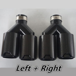 details about 2x black stainless carbon fiber dual pipe car exhaust tip y 2 5 inlet for bmw