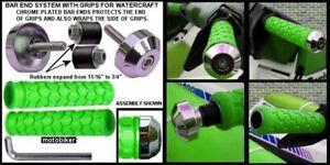 SEADOO-BOMBARDIER-WATERCRAFT-3D-GTI-GTS-GTX-SP-XP-GREEN-GRIPS-CHROME-BAR-ENDS
