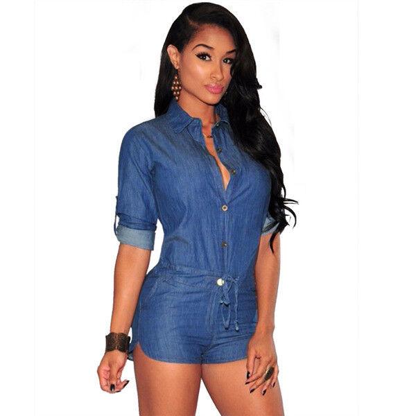 Abito tuta intera blue denim jeans elegante comodo leggero pantaloni corti 4508
