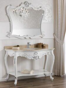 Dettagli su Consolle e specchio Eleonor stile Barocco Moderno arredo bagno  bianco laccato e