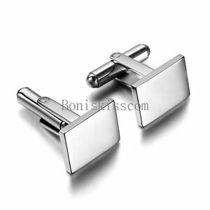 Polished-Stainless-Steel-Men-039-s-Wedding-Cuff-Link-Rectangle-Cufflinks-Silver