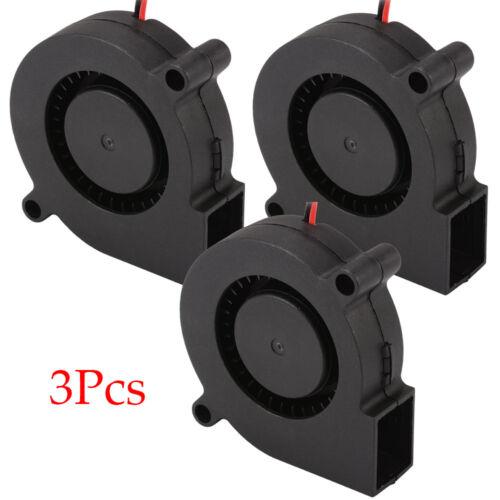 3pcs Brushless DC12V 5015 Cooling Blower Exhaust Fan 2-pin for 3D Printer 25dB