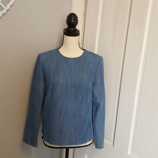 Zara Womens Blue Long Sleeve Top Size Small Cotton Blend Zara Woman Collection