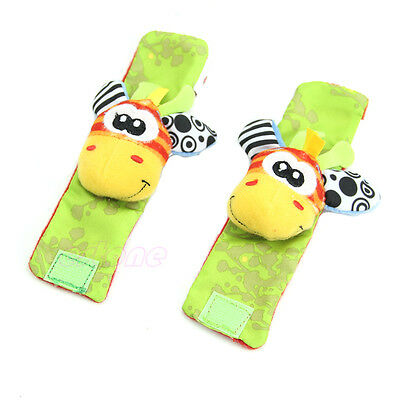 1PC Lovely Animal Infant Baby Kids Hand  Wrist Bells Foot Sock Rattles Soft Toys