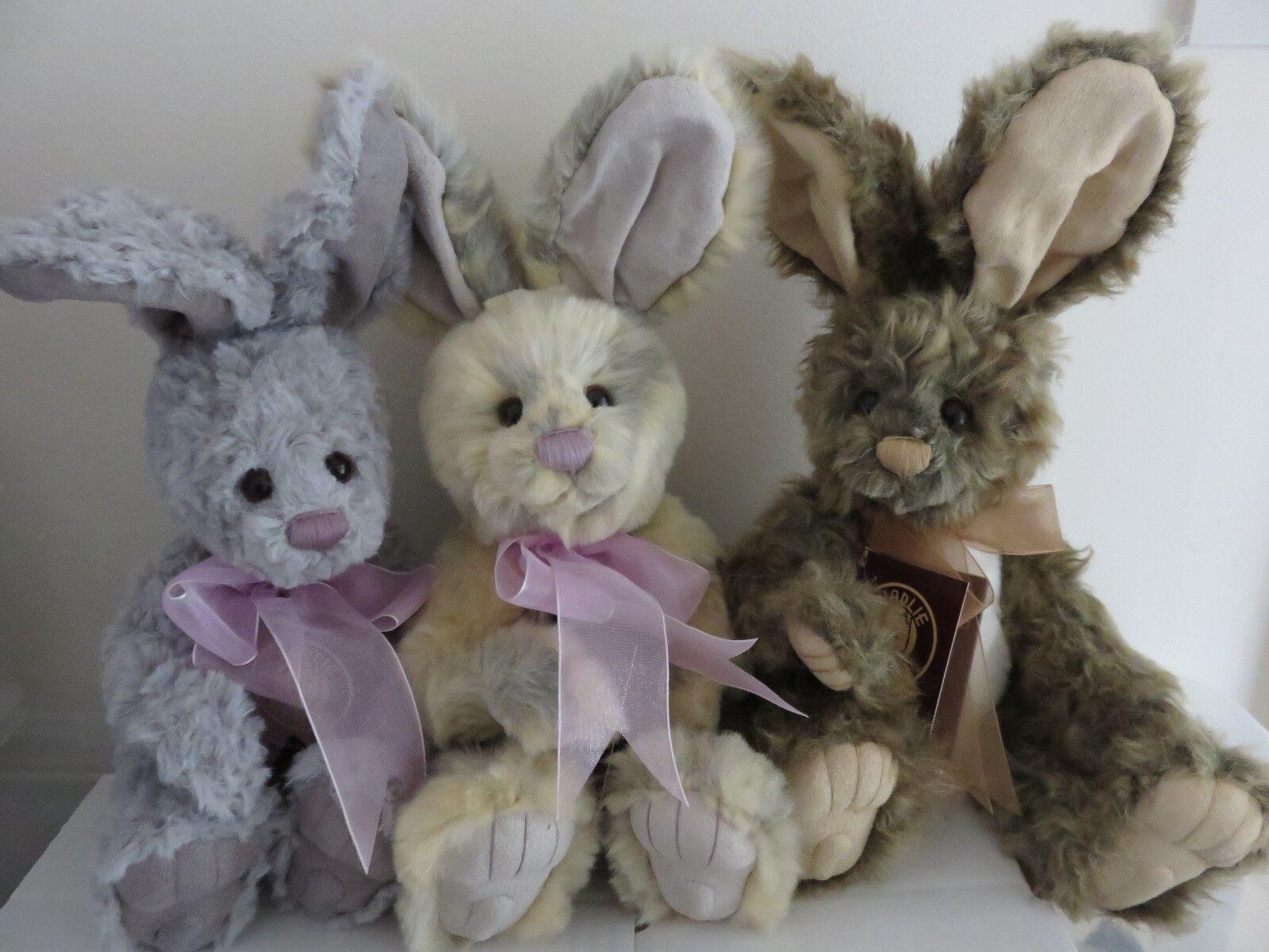 Charlie Bears-HOP, SALTARE & Jump-Set di 3 Conigli-Collezione Estate Prato