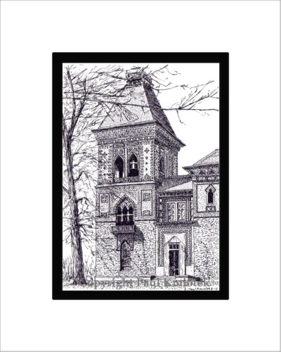 Hudson Note Card Matted Pen and Ink Olana Print Catskills Frederick Church