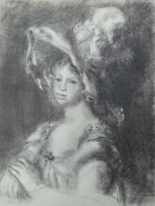 Auguste Renoir (Nach ) : Elegant mit Hut - Lithografie Unterzeichnet, Mourlot