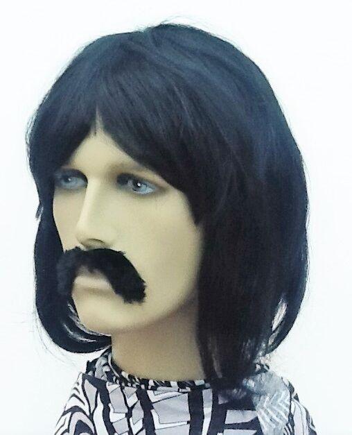 Men's Black Bob Style 60's/70's Pop Band Fancy Dress Wig and Droop Moustache