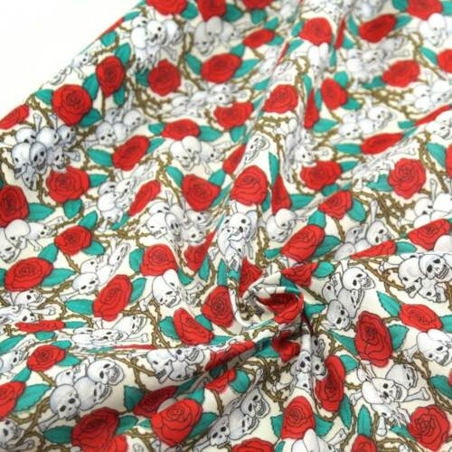 Polycotton Fabric Small Bunched Skulls and Thorn Roses On Cream