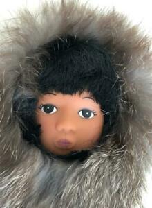 Eskimo-Doll-9-034-Figure-Dressed-in-White-Brown-Fur-for-Display-Decoration-Alaska