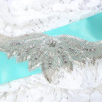 Angel Wings Diamante Rhinestone Beaded Wedding Bridal Dress Headband Applique